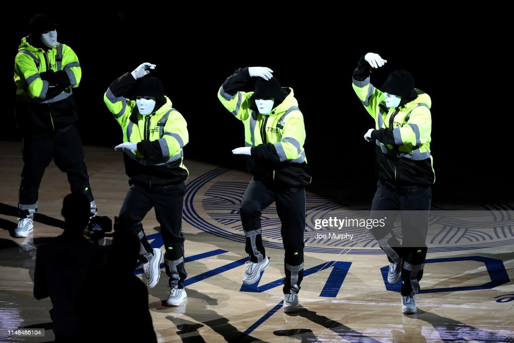 Jabbawockeez perform at halftime during Game Four of the NBA Finals