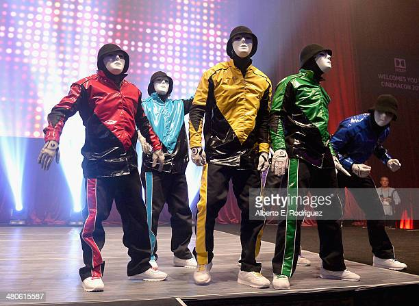 "Jabbawockeez performs onstage at ""The Neighbors"" Frat Party hosted by Universal Pictures in Conjunction with Dolby Laboratories at Caesars Palace..."