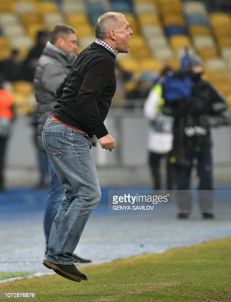 Jablonec coach Petr Rada reacts during the UEFA Europa League Group K football match between Dynamo Kiev and Jablonec at the Olympiyski stadium in...