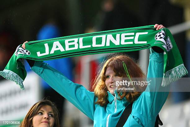 Jablonec supporter during the Czech First League match between FK Jablonec and SK Sigma Olomouc held on May 26, 2013 at the Chance Arena in Jablonec...