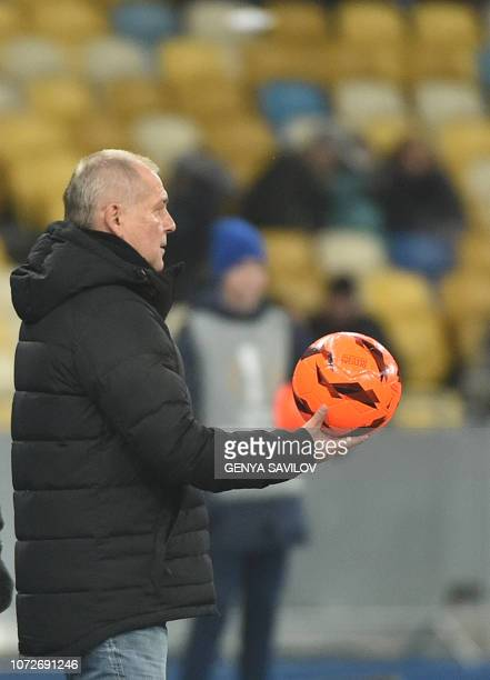 Jablonec's Czech coach Petr Rada reacts during the UEFA Europa League Group K football match between FC Dynamo Kyiv and FK Jablonec at the Olympiyski...