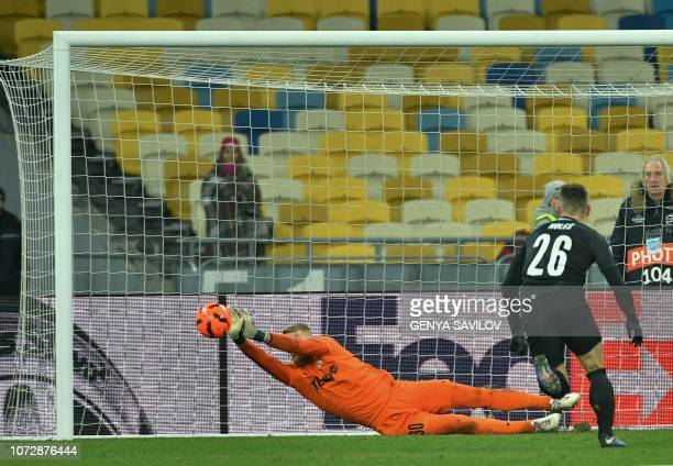 Jablonec's goalkeeper Vlastimil Hruby fights for the ball during the UEFA Europa League Group K football match between Dynamo Kyiv and Jablonec on...