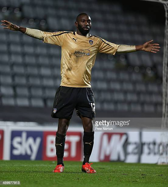 Jabo Ibehre of Colchester United in action during the Sky Bet League One match between Milton Keynes Dons and Colchester United at Stadium MK on...