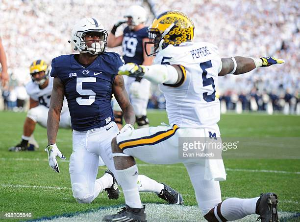 Jabril Peppers of the Michigan Wolverines reacts after a pass intended for DaeSean Hamilton of the Penn State Nittany Lions falls incomplete at...