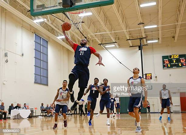 Jabril Trawick drives to the basket during the NBA Development League seventh annual Elite Mini Camp May 9 2016 at the Quest Multisport gym in...
