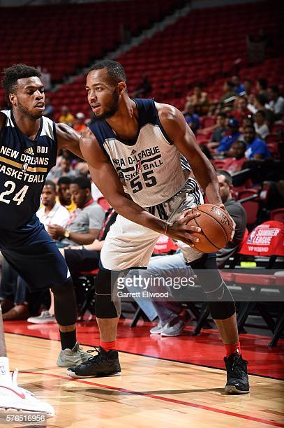 Jabril Trawick of DLeague Select handles the ball during the game against the New Orleans Pelicans during the 2016 Las Vegas Summer League on July 15...