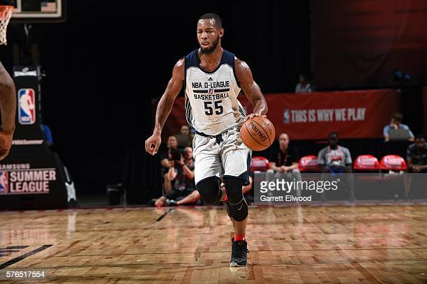 Jabril Trawick of NBA DLeague Select handles the ball during the game against the New Orleans Pelicans during the 2016 Las Vegas Summer League on...