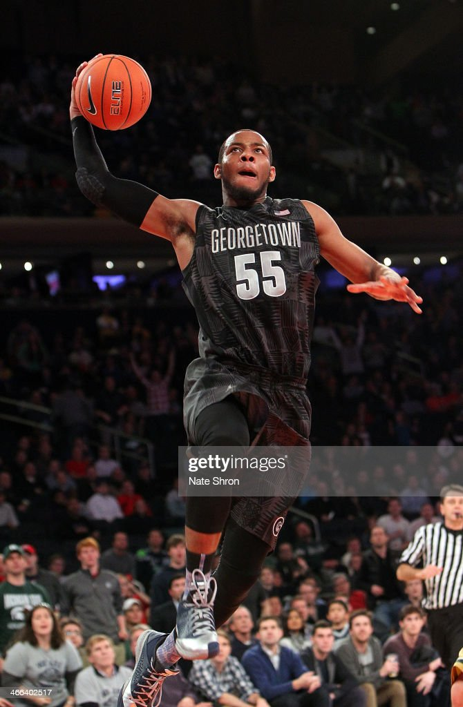 Jabril Trawick #55 of the Georgetown Hoyas dunks the ball during the game against the Michigan State Spartans at Madison Square Garden on February 1, 2014 in New York City.