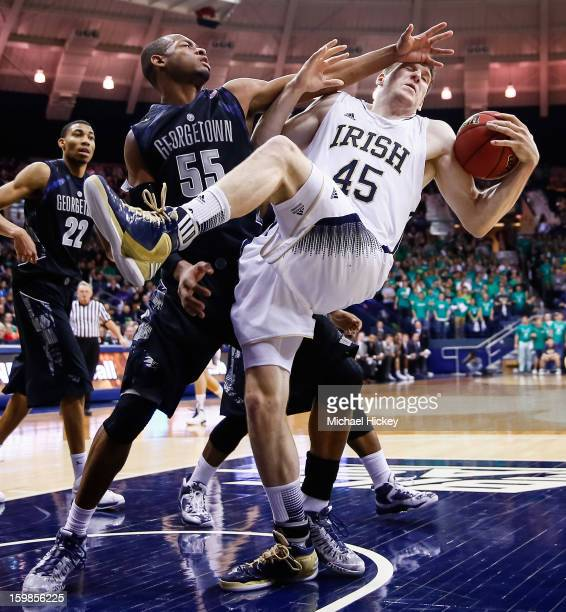 Jabril Trawick of the Georgetown Hoyas fouls Jack Cooley of the Notre Dame Fighting Irish in the head at Purcel Pavilion on January 21 2013 in South...
