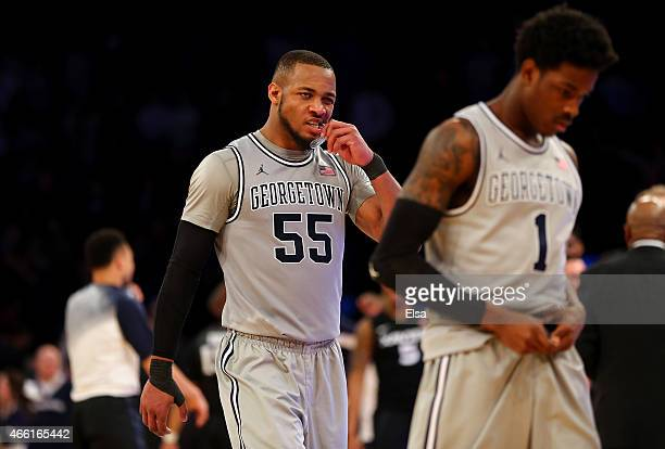 Jabril Trawick of the Georgetown Hoyas walks off the court after losing to the Xavier Musketeers 6563 during a semifinal game of the Big East...