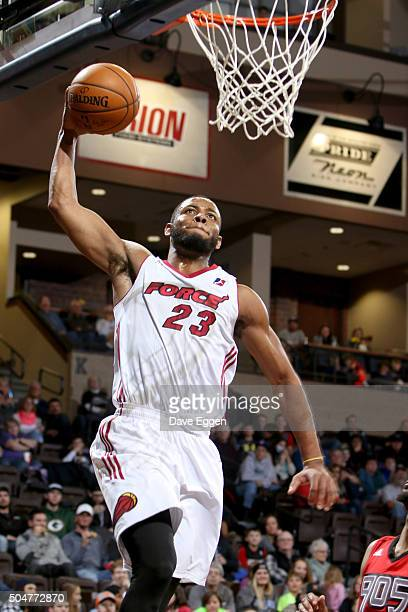 Jabril Trawick of the Sioux Falls Skyforce dunks the ball against the Toronto Raptors 905 at the Sanford Pentagon on January 12 2016 in Sioux Falls...
