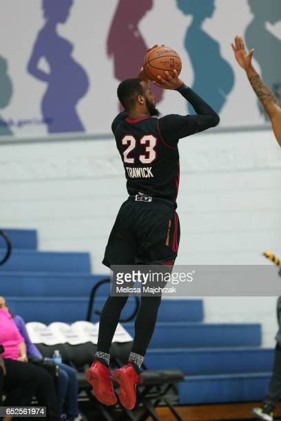 Jabril Trawick of the Sioux Falls Skyforce puts the shot up against the Salt Lake City Stars at Bruins Arena on March 11 2017 in Taylorsville Utah...