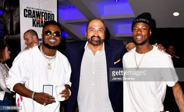 Jabrill Peppers Franco Harris and guest attend Top Rank VIP party prior to the WBO welterweight title fight between Terence Crawford and Amir Khan at...