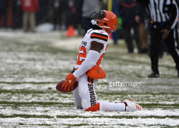 Jabrill Peppers of the Cleveland Browns celebrates after completing a pass in the second quarter against the Chicago Bears at Soldier Field on...