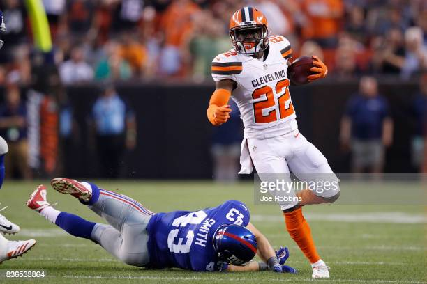 Jabrill Peppers of the Cleveland Browns returns a punt 31 yards against the New York Giants in the first half of a preseason game at FirstEnergy...
