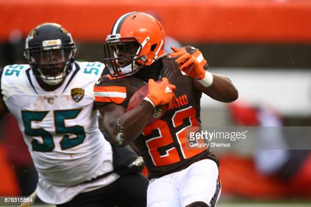 Jabrill Peppers of the Cleveland Browns returns a punt in the first half against the Jacksonville Jaguars at FirstEnergy Stadium on November 19 2017...