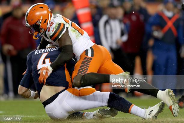 Jabrill Peppers of the Cleveland Browns sacks quarterback Case Keenum on the Denver Broncos on fourth down in the final seconds of the fourth quarter...