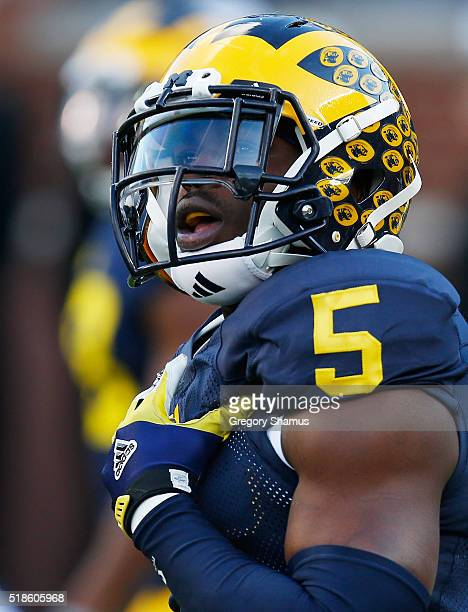Jabrill Peppers of the Michigan Wolverines looks on during the Michigan Football Spring Game on April 1 2016 at Michigan Stadium in Ann Arbor Michigan