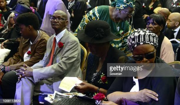 Jabulani HHP Tsambos father Robert Tsambo during the funeral service of his late son at Mmabatho Convention Centre on November 03, 2018 in Mahikeng,...