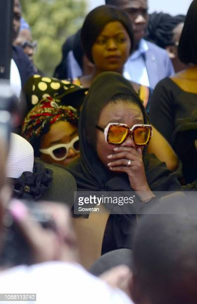 Jabulani 'HHP' Tsambos wife Lerato Sengadi during the funeral service of her late husband at Mmabatho Convention Centre on November 03, 2018 in...