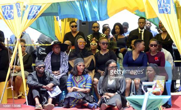 Jabulani 'HHP' Tsambos wife Lerato Sengadi with her family members during the funeral service of her late husband at Mmabatho Convention Centre on...