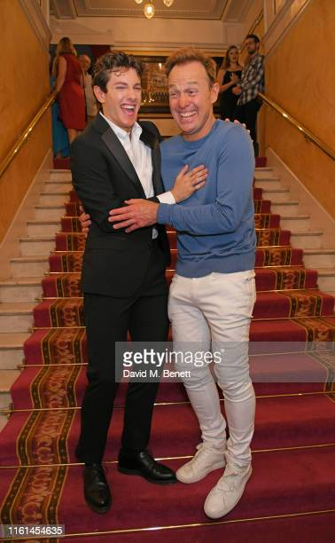 """Jac Yarrow and Jason Donovan attend the press night after party for """"Joseph And The Amazing Technicolor Dreamcoat"""" at The London Palladium on July..."""