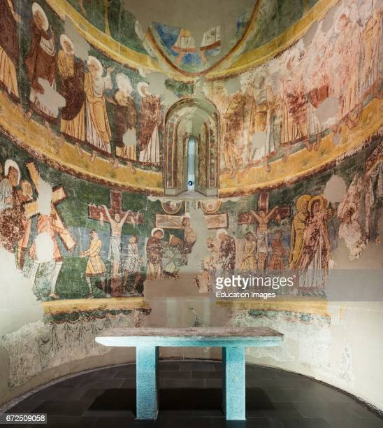 Jaca Huesca Province Aragon Spain Diocesan Museum of Jaca Museo Diocesano de Jaca Crucifixion scene and portraits of the apostles Fresco dating from...