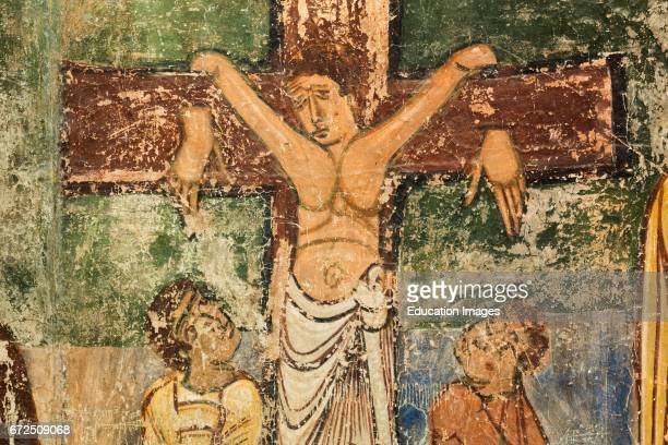 Jaca Huesca Province Aragon Spain Diocesan Museum of Jaca Museo Diocesano de Jaca Detail from crucifixion scene Fresco dating from the late 11th...