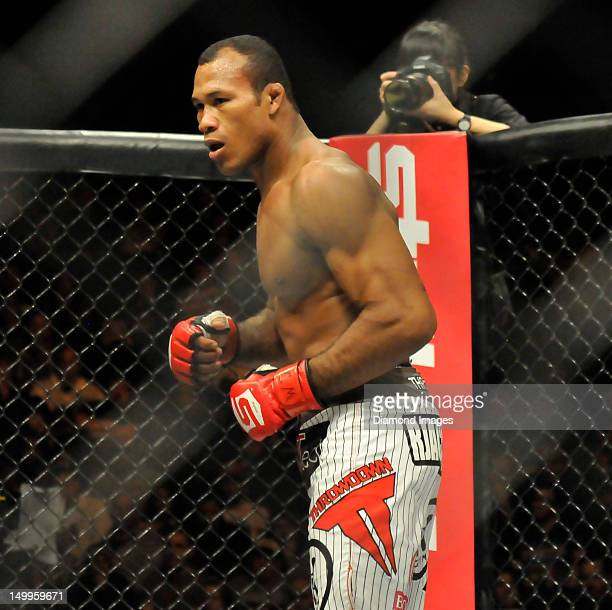 Jacare Souza looks for an opening to throw a punch during a welterweight bout at the the Strikeforce event at Nationwide Arena on March 3 2012 in...