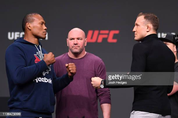 Jacare Souza of Brazil and Jack Hermansson of Norway face off during the UFC Seasonal Press Conference inside State Farm Arena on April 12 2019 in...