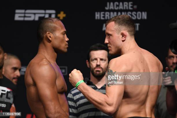 Jacare Souza of Brazil and Jack Hermansson of Sweden face off during the UFC Fight Night weighin at BBT Center on April 26 2019 in Sunrise Florida