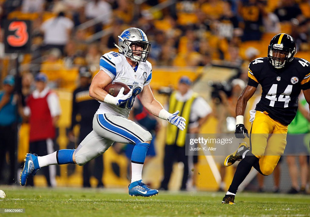 Jace Billingsley #16 of the Detroit Lions catches a 27 yard touchdown pass in the fourth quarter against Al-Hajj Shabazz #44 of the Pittsburgh Steelers during the game on August 12, 2016 at Heinz Field in Pittsburgh, Pennsylvania.