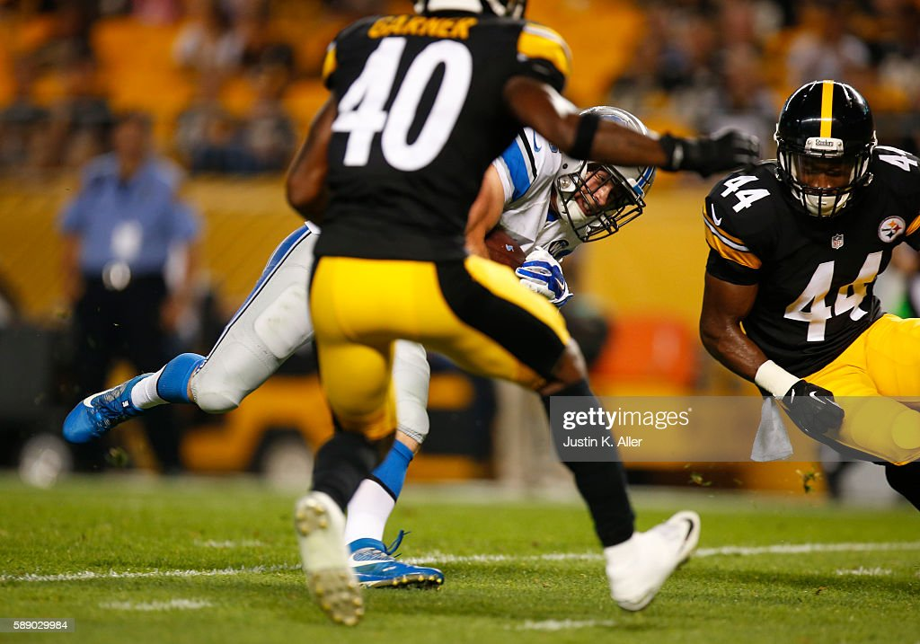 Jace Billingsley #16 of the Detroit Lions dives for the end-zone after catching a 27 yard touchdown pass in the fourth quarter against against the Pittsburgh Steelers during the game on August 12, 2016 at Heinz Field in Pittsburgh, Pennsylvania.