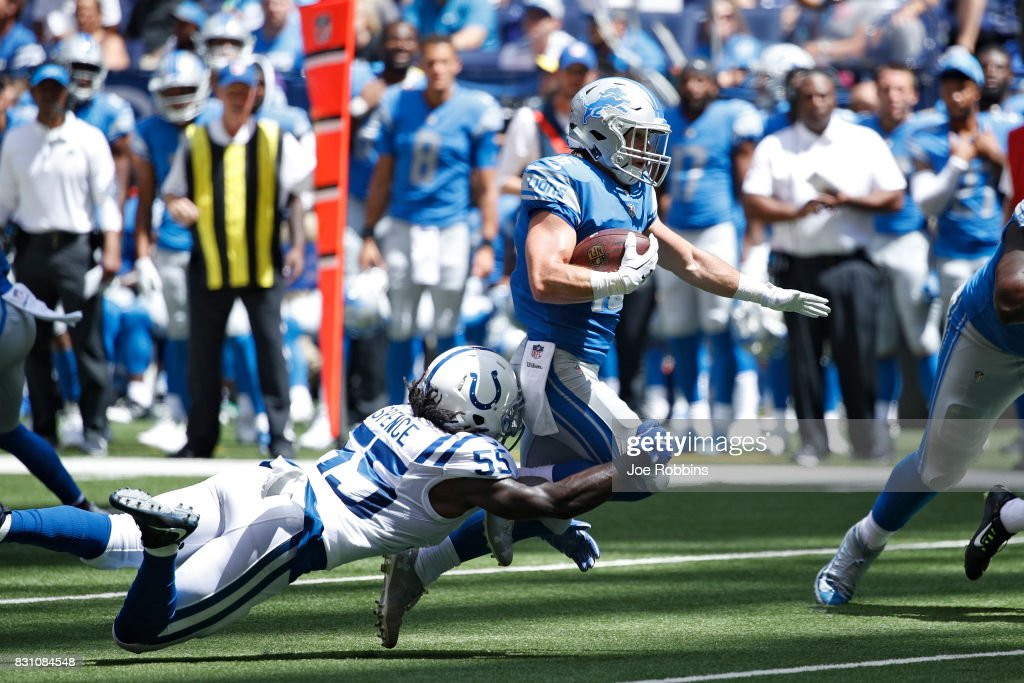 Jace Billingsley #16 of the Detroit Lions makes an 11-yard reception against Sean Spence #55 of the Indianapolis Colts in the first half of a preseason game at Lucas Oil Stadium on August 13, 2017 in Indianapolis, Indiana.