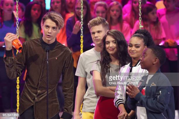 Jace Norman accepts Favorite TV Actor for 'Henry Danger' from Owen Joyner Lilimar Hernandez and Daniella Perkins onstage at Nickelodeon's 2018 Kids'...