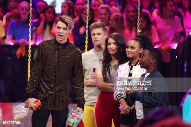 Jace Norman accepts Favorite TV Actor for 'Henry Danger' onstage at Nickelodeon's 2018 Kids' Choice Awards at The Forum on March 24 2018 in Inglewood...