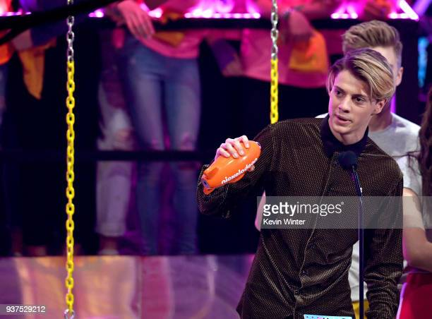 Jace Norman accepts the Favorite TV Actor award for 'Henry Danger' onstage at Nickelodeon's 2018 Kids' Choice Awards at The Forum on March 24 2018 in...