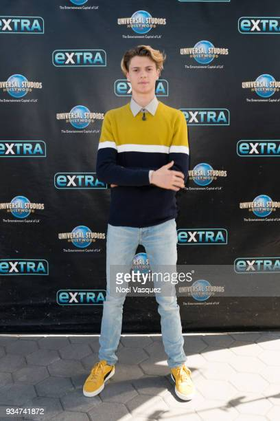 """Jace Norman visits """"Extra"""" at Universal Studios Hollywood on March 19, 2018 in Universal City, California."""
