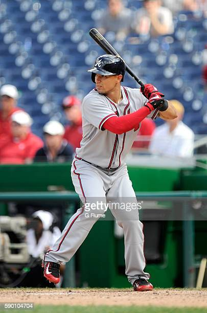Jace Peterson of the Atlanta Braves bats against the Washington Nationals at Nationals Park on August 14 2016 in Washington DC