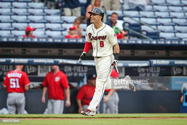 Jace Peterson of the Atlanta Braves celebrates hitting a walkoff home run against the Washington Nationals in the 10th inning at Turner Field on...