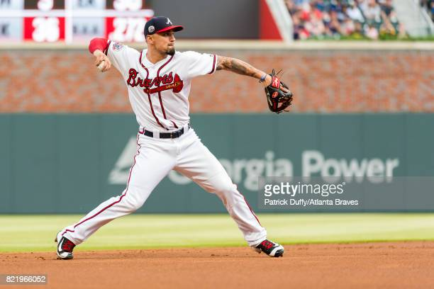 Jace Peterson of the Atlanta Braves fields against the Pittsburgh Pirates at SunTrust Park on May 24 2017 in Atlanta Georgia The Pirates won 125