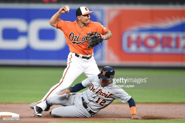 Jace Peterson of the Baltimore Orioles forces out Leonys Martin of the Detroit Tigers on a Nicholas Castellanos fielders choice in the first inning...
