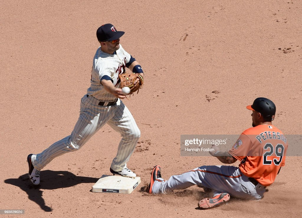 Jace Peterson #29 of the Baltimore Orioles is out at second base as Brian Dozier #2 of the Minnesota Twins turns a double play during the seventh inning of the game on July 7, 2018 at Target Field in Minneapolis, Minnesota. The Twins defeated the Orioles 5-4.