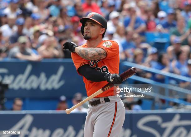 Jace Peterson of the Baltimore Orioles reacts after striking out to end the top of the eighth inning during MLB game action against the Toronto Blue...