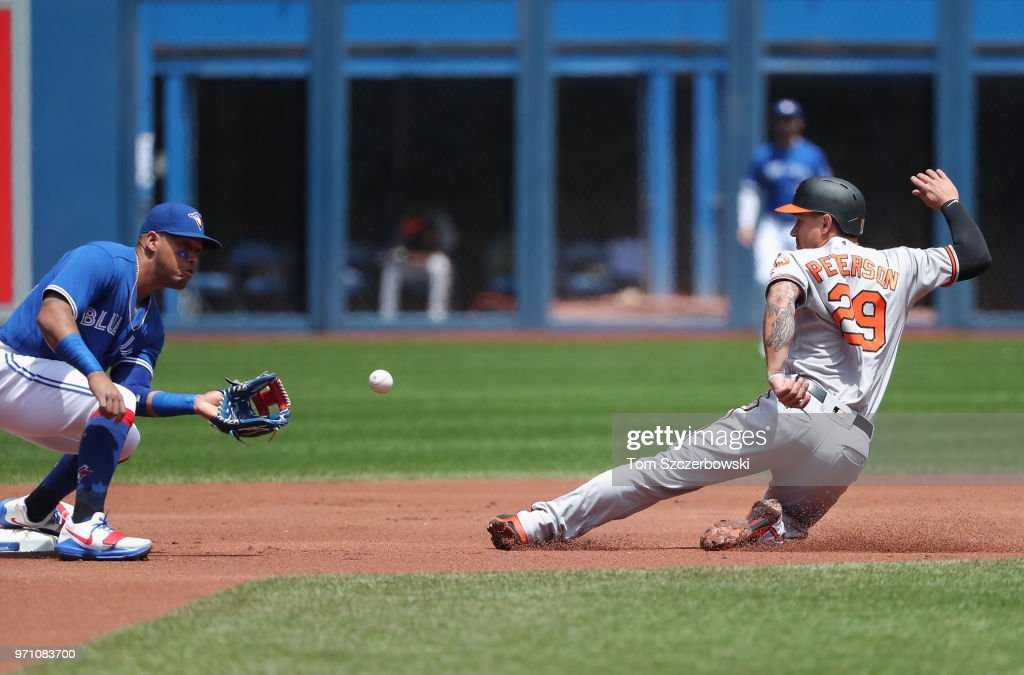 Jace Peterson #29 of the Baltimore Orioles steals second base in the first inning during MLB game action as Yangervis Solarte #26 of the Toronto Blue Jays cannot make the tag in time at Rogers Centre on June 10, 2018 in Toronto, Canada.