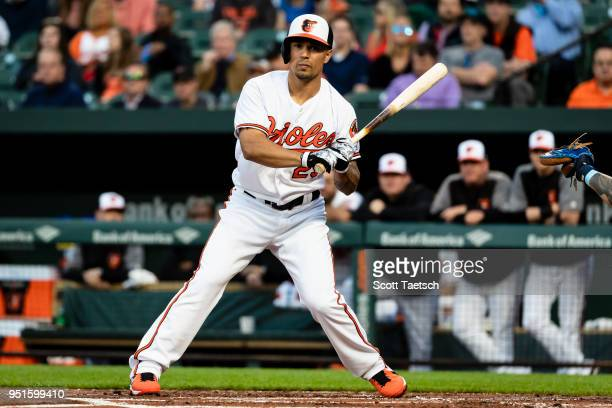 Jace Peterson of the Baltimore Orioles strikes out looking against the Tampa Bay Rays during the first inning at Oriole Park at Camden Yards on April...