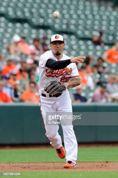 Jace Peterson of the Baltimore Orioles throws the ball to first base against the Texas Rangers at Oriole Park at Camden Yards on July 15 2018 in...