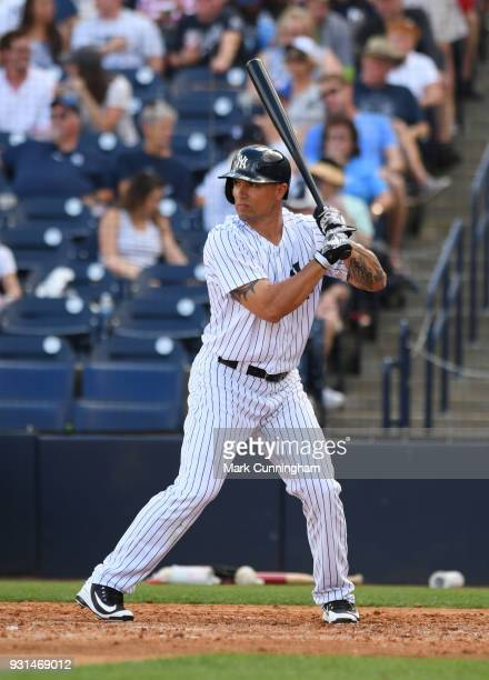 Jace Peterson of the New York Yankees bats during the Spring Training game against the Detroit Tigers at George M Steinbrenner Field on February 23...