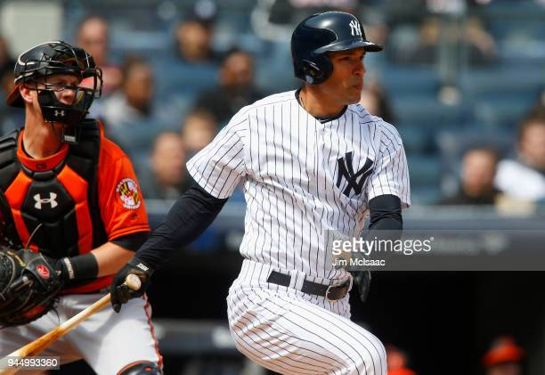 Jace Peterson of the New York Yankees in action against the Baltimore Orioles at Yankee Stadium on April 7 2018 in the Bronx borough of New York City...