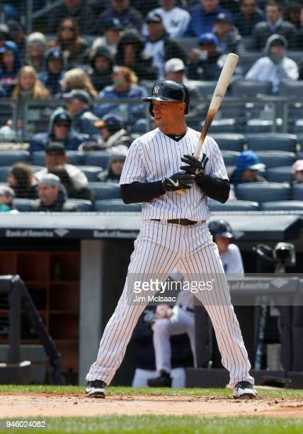 Jace Peterson of the New York Yankees in action against the Baltimore Orioles at Yankee Stadium on April 8 2018 in the Bronx borough of New York City...